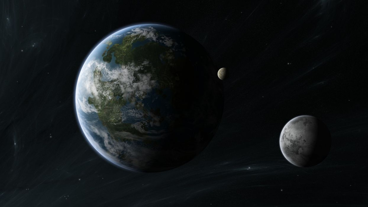 system  planet  moons  stars wallpaper