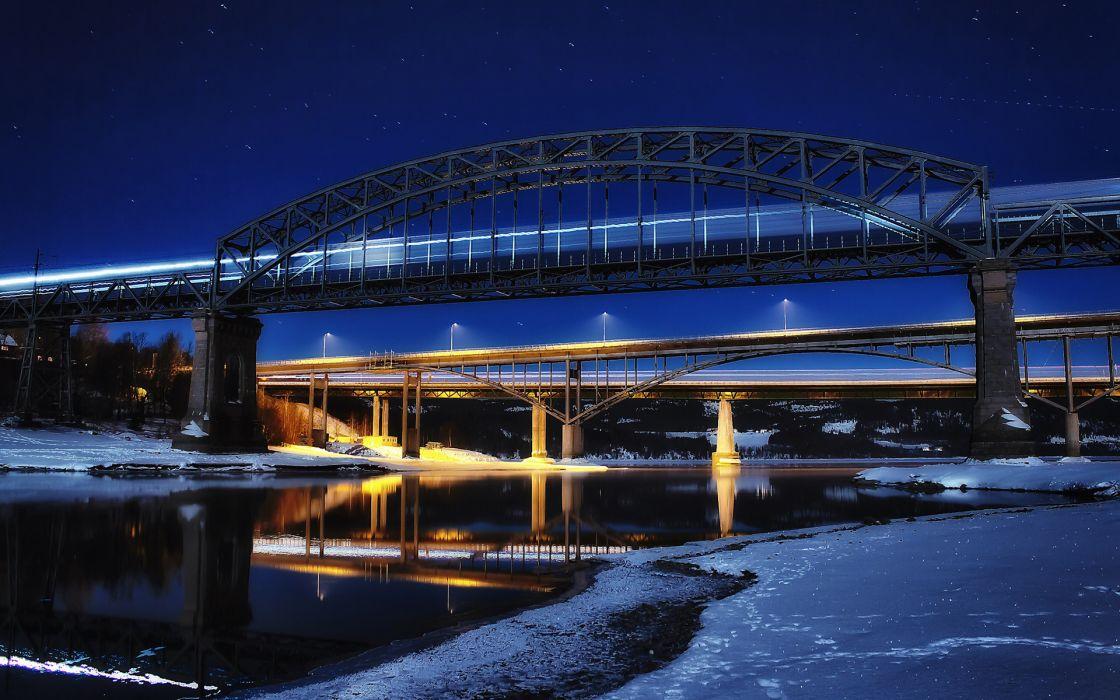 Bridge Night Reflection Snow Winter Timelapse River wallpaper