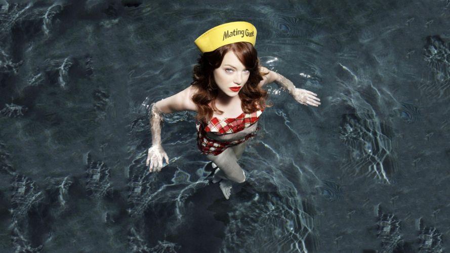 Emma Stone Redhead Water actress women females girls sexy babes face wallpaper