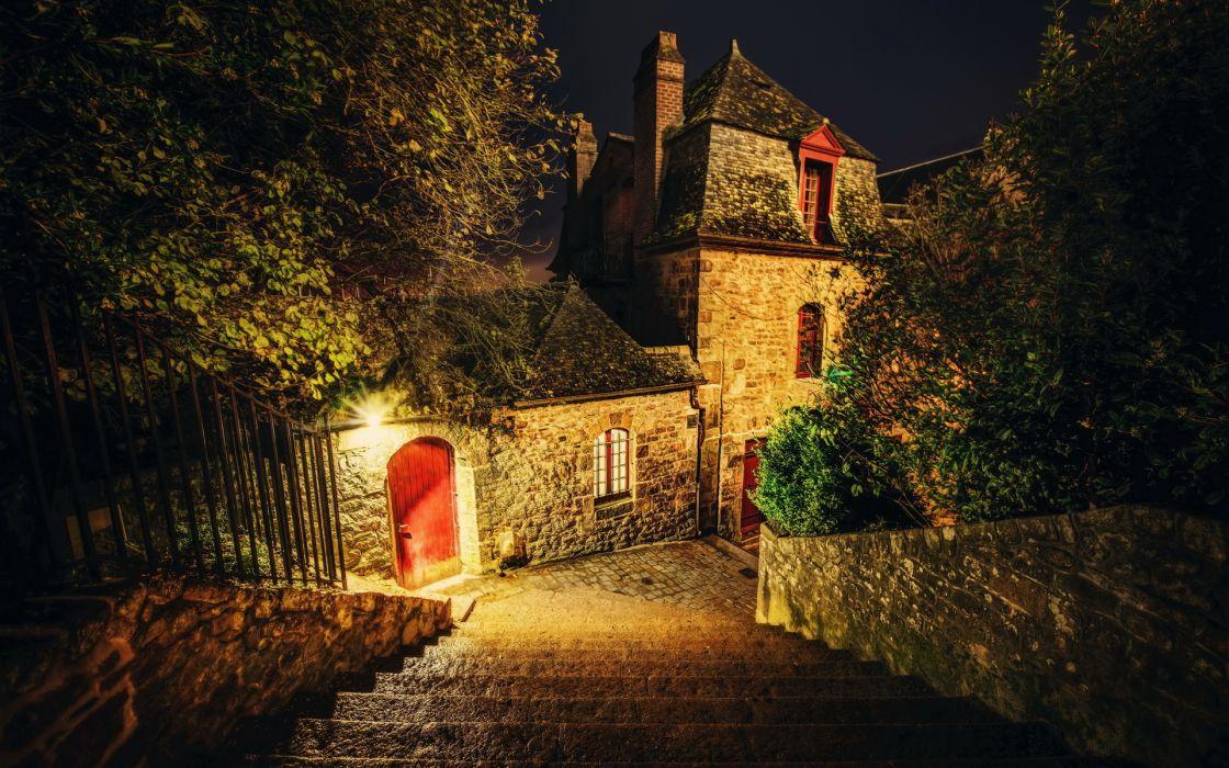 France Mont Saint Michel stair buildings house wallpaper