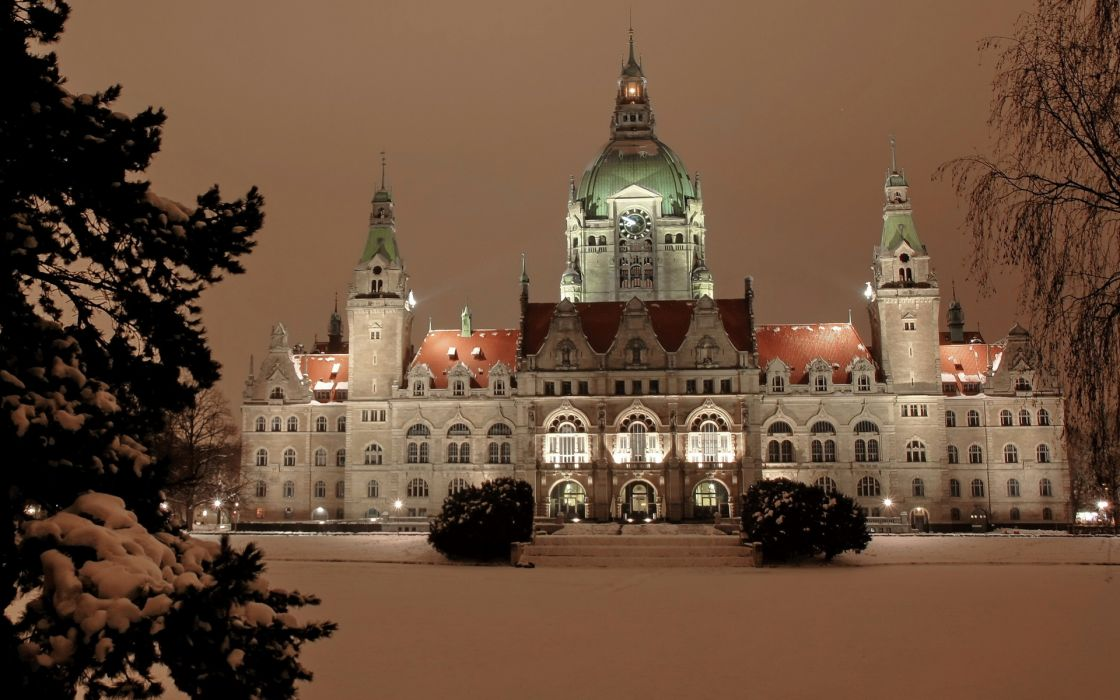 Germany Winter Neues Rathaus Hannover Snow buildings wallpaper