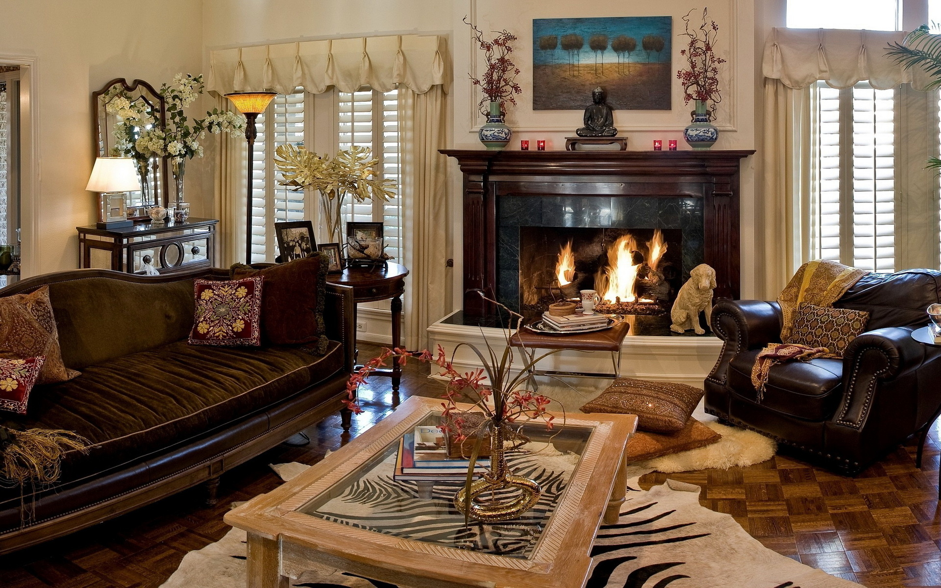Interior fireplace sofas chairs living room room design for Living room seats designs