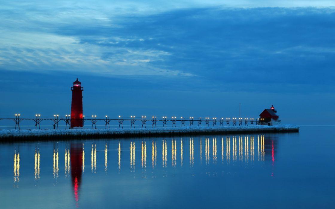 Lake Michigan night lighthouse reflection sky wallpaper