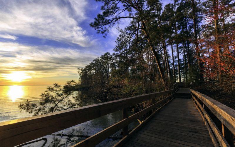 lake bridge landscape trees hdr sunrise sunset reflection water wallpaper