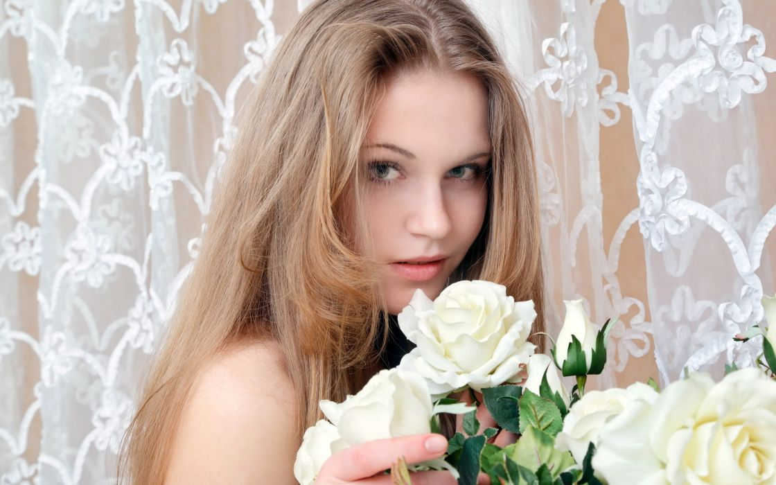 roses look beauty model women females girls sexy babesa face flowers wallpaper