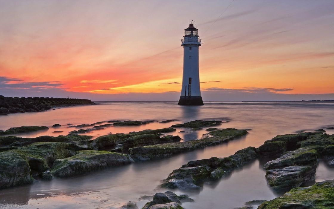 sea sunset lighthouse landscape ocean beaches sky wallpaper