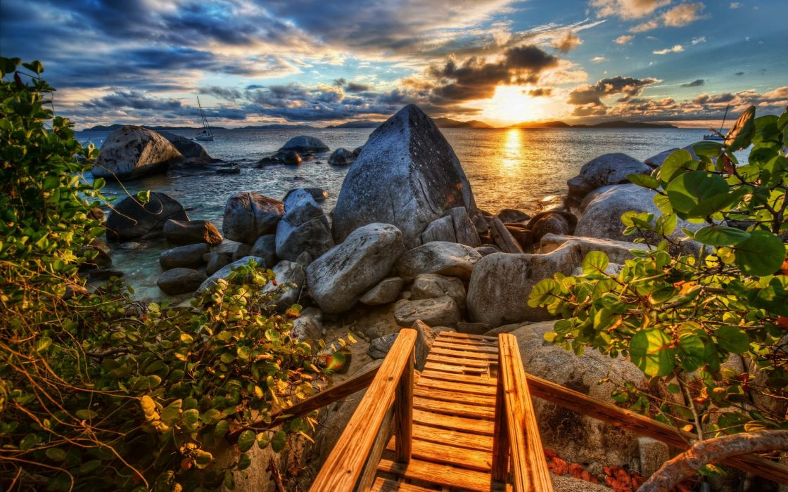 Coast rocks sea sunset Caribbean branches leaves clouds beaches hdr wallpaper