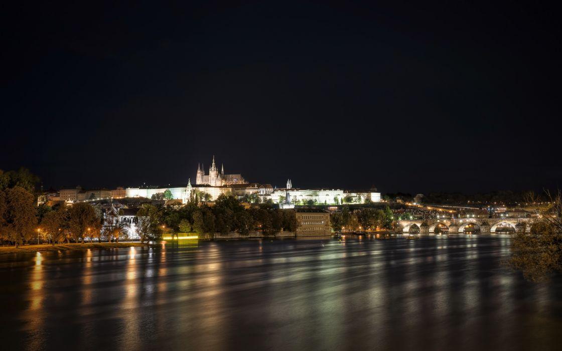 Czech Republic River Prague night city buildings cities cathedral rivers bridges wallpaper