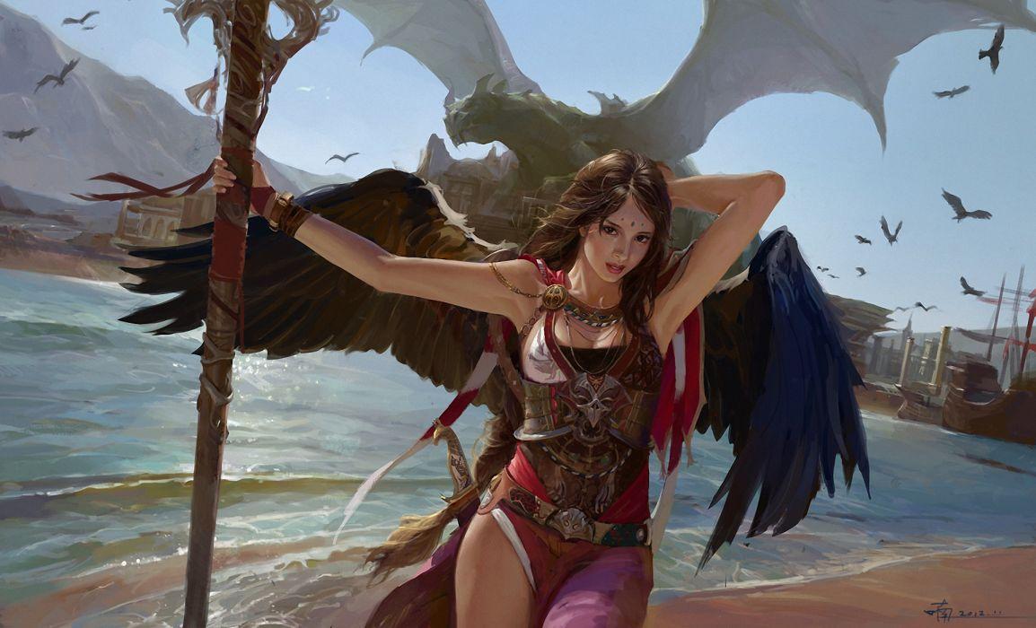 women females girls sexy babes dragons wallpaper