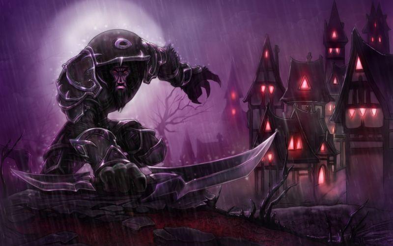 World Of Warcraft fantasy warrior weapons dark wallpaper