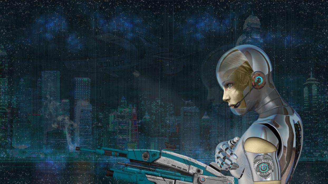 cyborg robot buildings weapons  d wallpaper