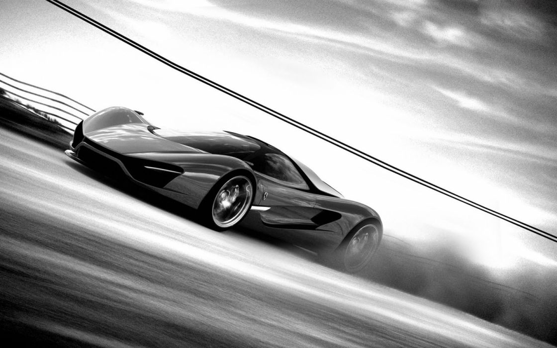 Black And White Supercar Wallpaper