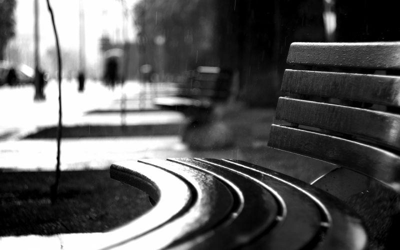 Bench Rain BW black white monochrome mood drops wallpaper