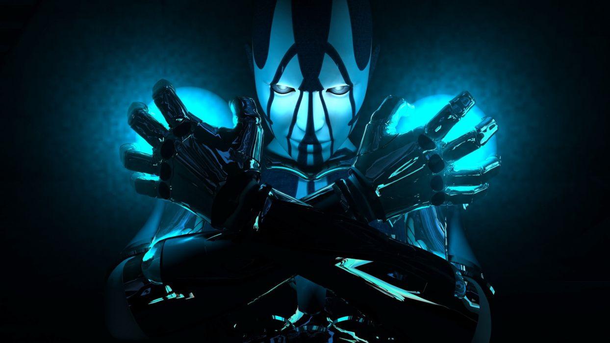Blue Robot Cyborg futuristic 3d wallpaper