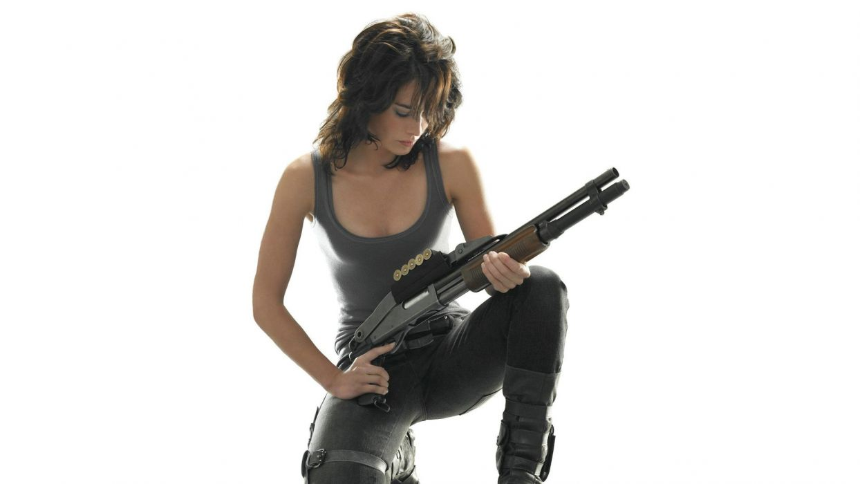 Brunette White Shotgun Terminator Sarah Connor Chronicles Lena Headey weapons women females girls sexy babes wallpaper