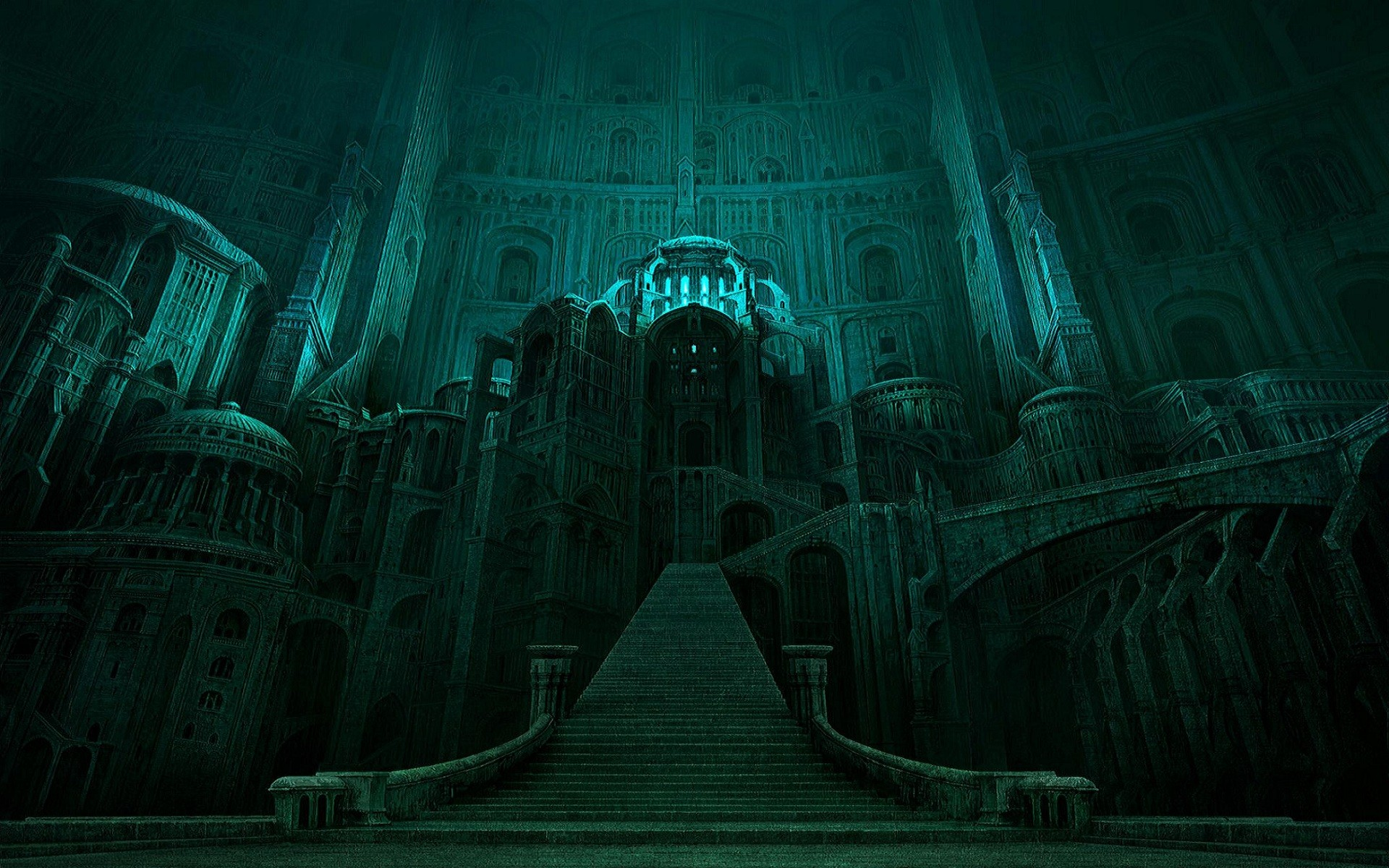 the lord of the rings castle green fantasy dark movies wallpaper