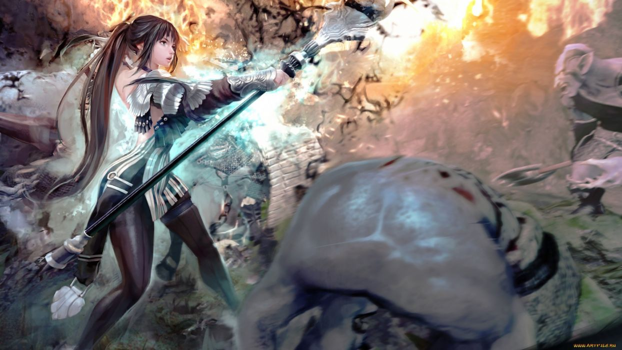 Vindictus anime girl battle wallpaper