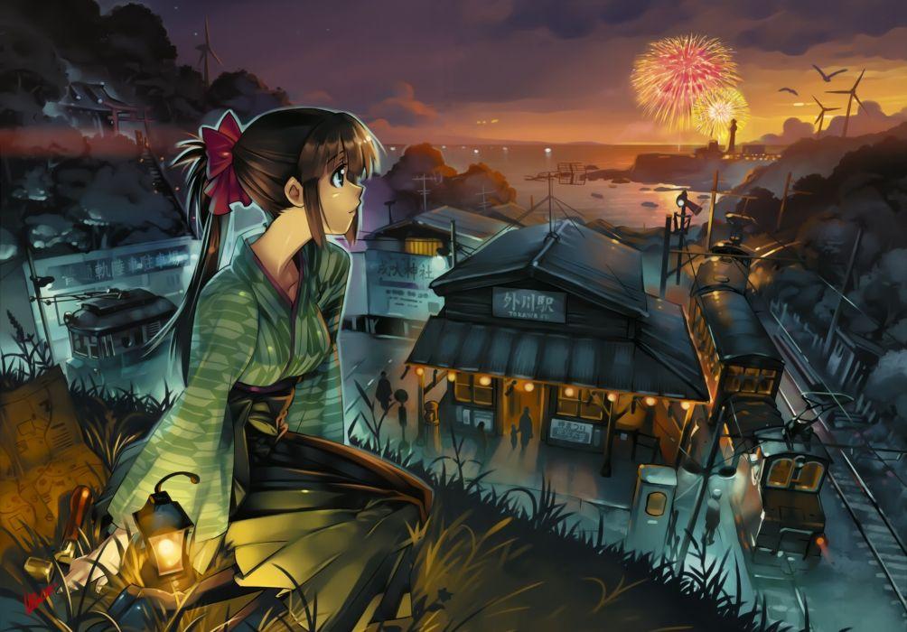 Anime Fireworks girl buildings wallpaper