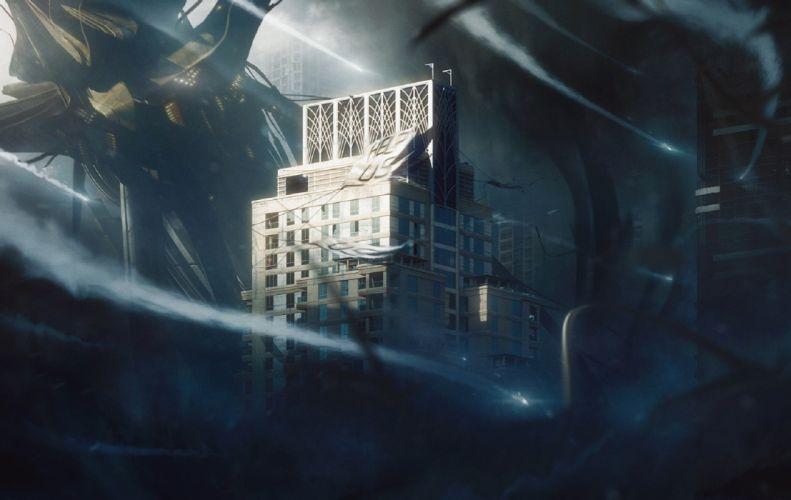 Buildings Help Us Apocalypse post ruins sci-fi dark horror wallpaper