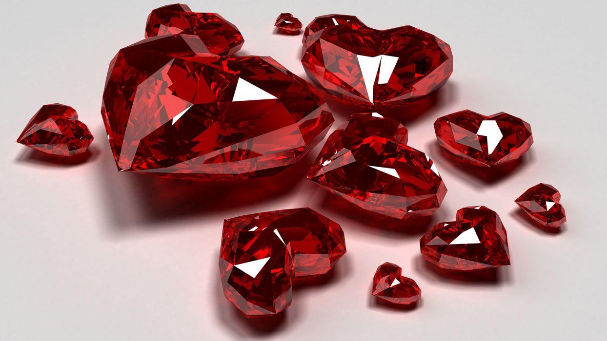 Hearts Ruby Jewel 3d cg love wallpaper