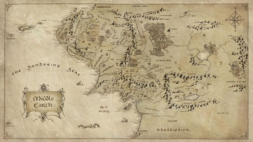 Middle Earth The Lord of the Rings Map fantasy movies hobbit wallpaper