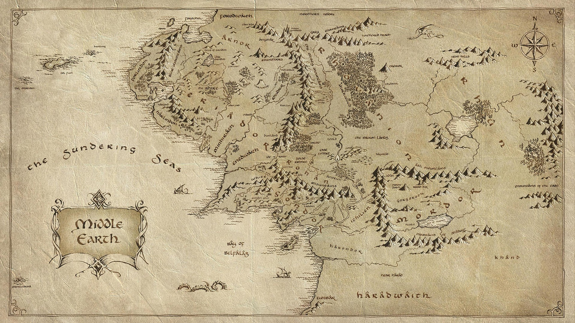 Middle Earth The Lord of the Rings Map fantasy movies hobbit
