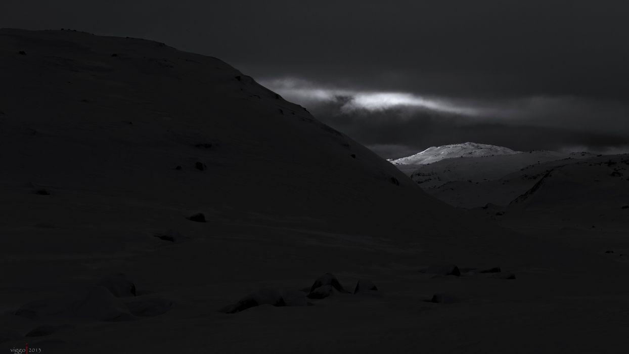 mountains sky clouds snow black white monochrome wallpaper