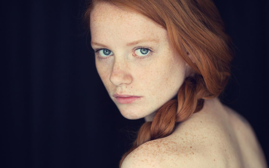 Redhead Freckles Face women females girls face eyes babes sexy wallpaper