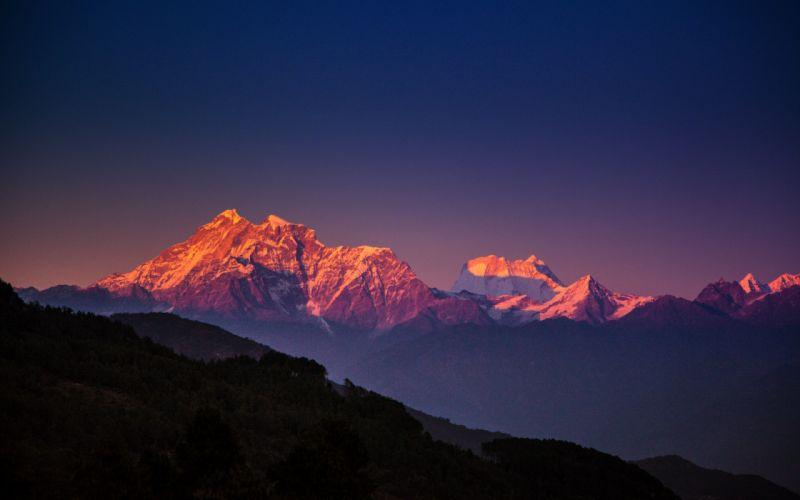 Nepal Himalayas mountains trees evening blue sky wallpaper