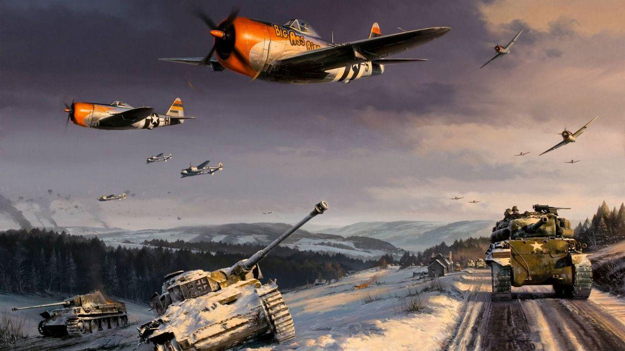 P47 Thunderbolt P38 Lightning World War II Battle of the Ardennes Sherman art drawing military tanks weapons wallpaper