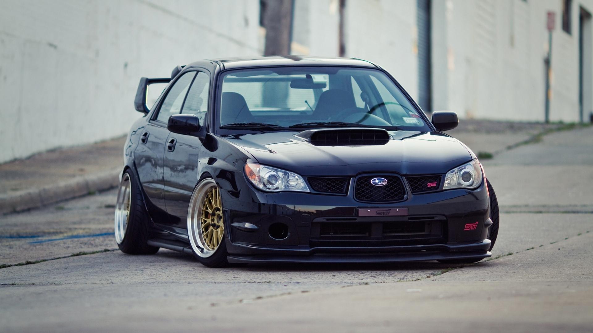 Subaru Impreza Sti Slammed Low Japan Car Tuning Wallpaper