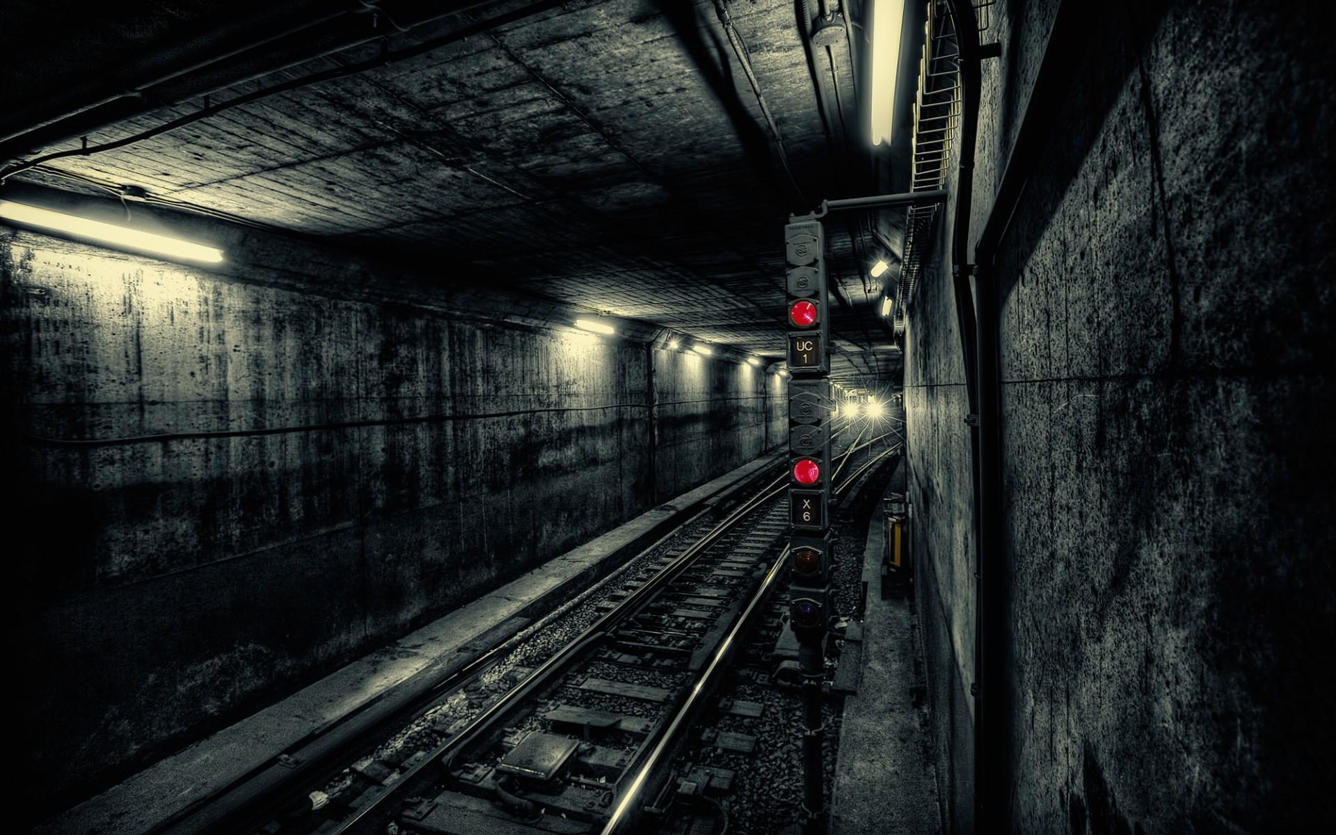 Tunnel electricity underground rails light light tracks railroad
