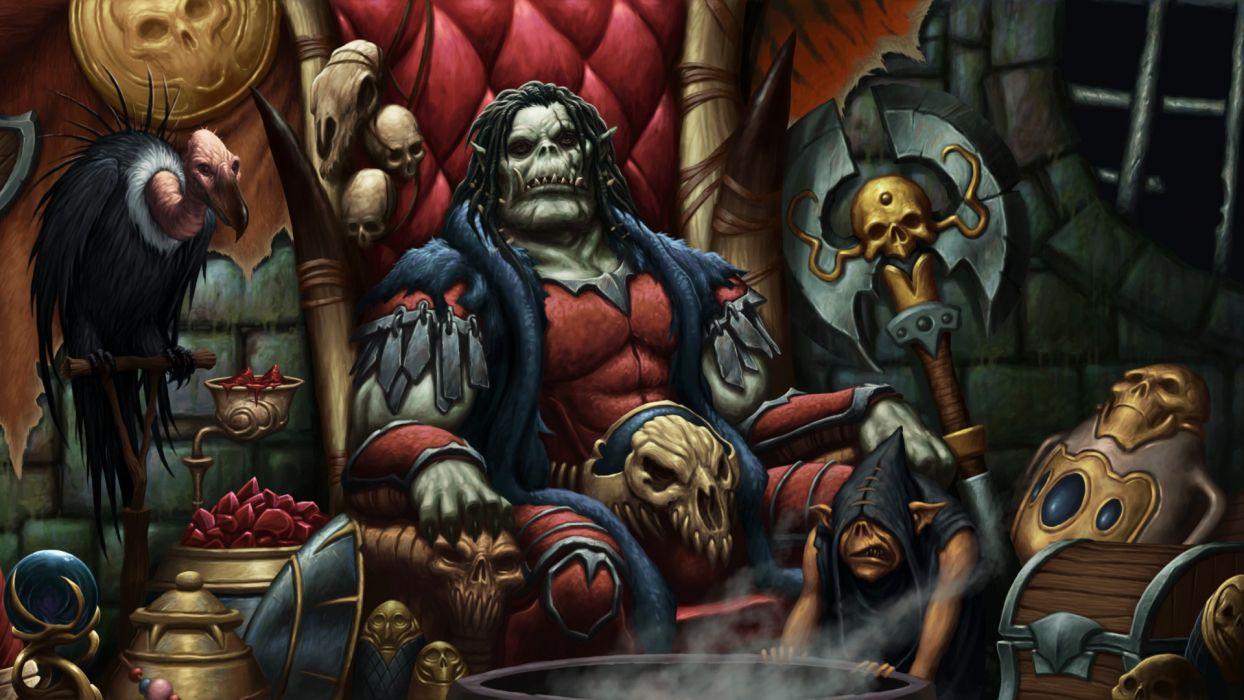 dark fantasy monster ogre skulls wallpaper