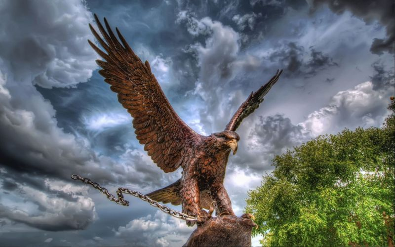eagle chain sculpture metal sky clouds birds statue hdr wallpaper