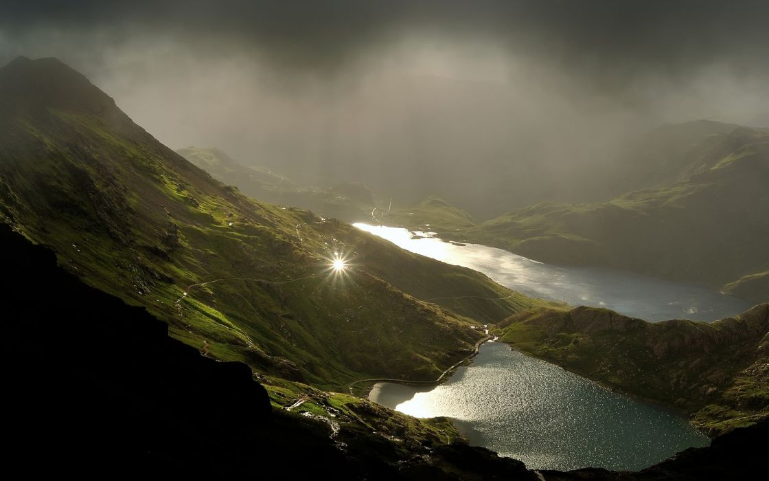 lakes  mountains  sun  reflection fog clouds wallpaper