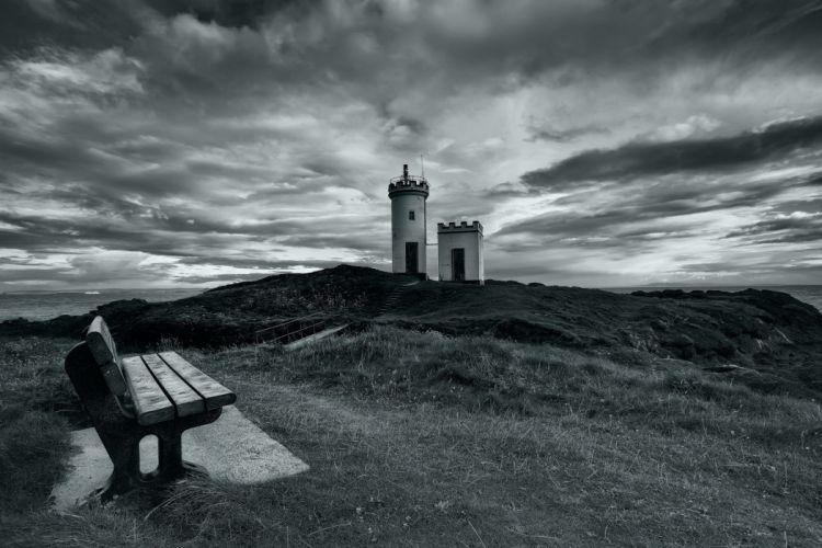 lighthouse sea bench landscape sky clouds black white wallpaper