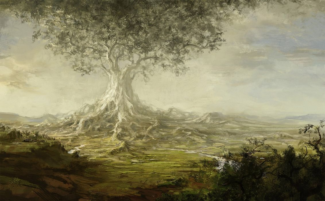 tree  giant  valley  river  roots art paintings landscapes wallpaper