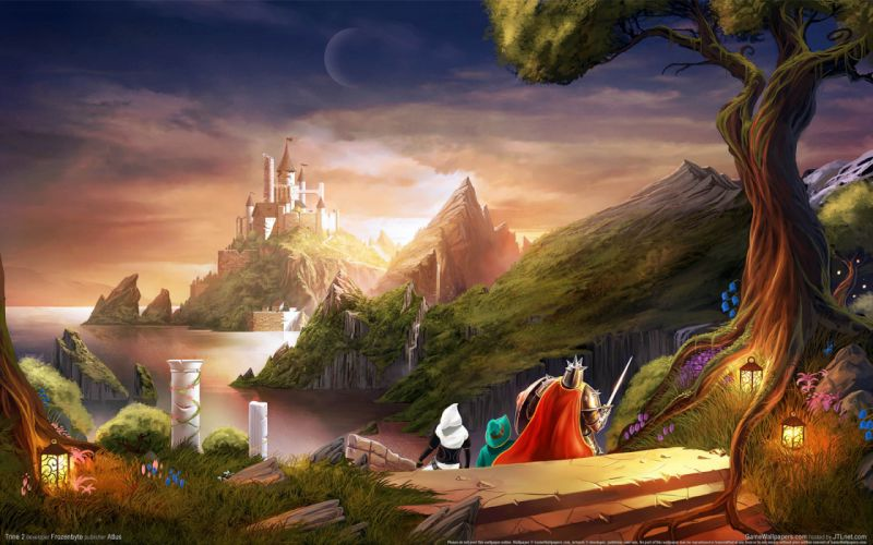 Trine 2 fantasy world sea castle tower stage travelers wallpaper