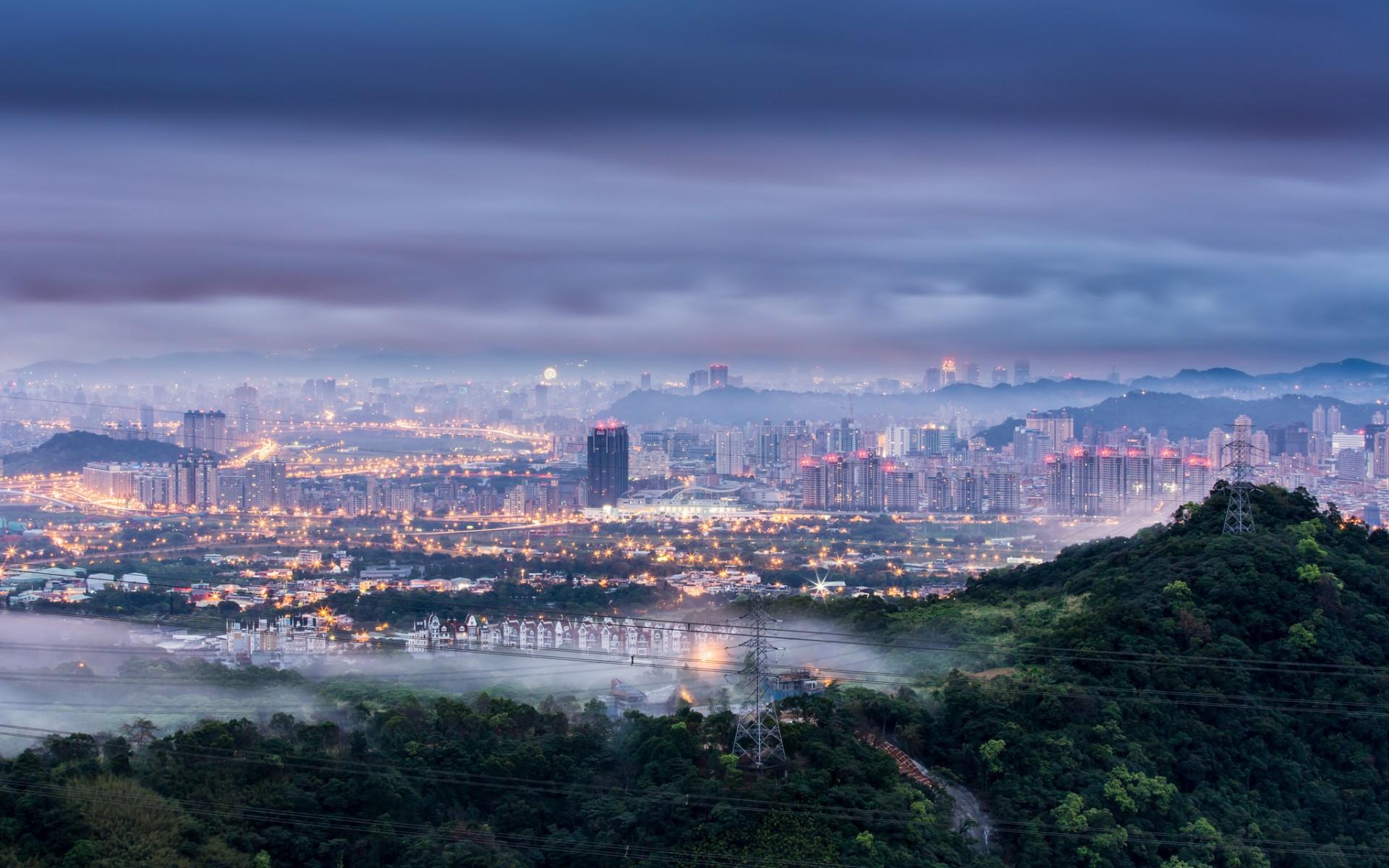 China Taiwan Taipei city dawn morning blue sky clouds fog ...