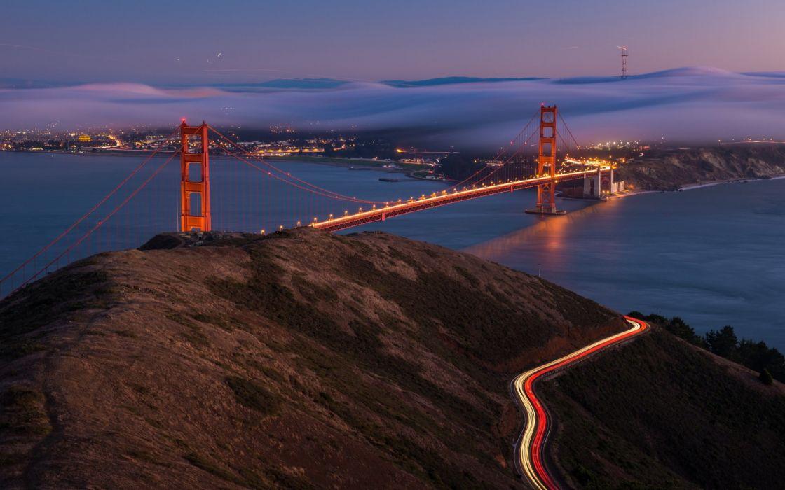 city aeYaeY night  bridge water bay san francisco fog cities roads wallpaper