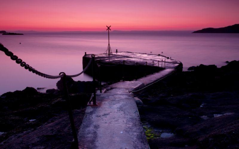 night sea pier landscape sunset sunrise ocean sky wallpaper