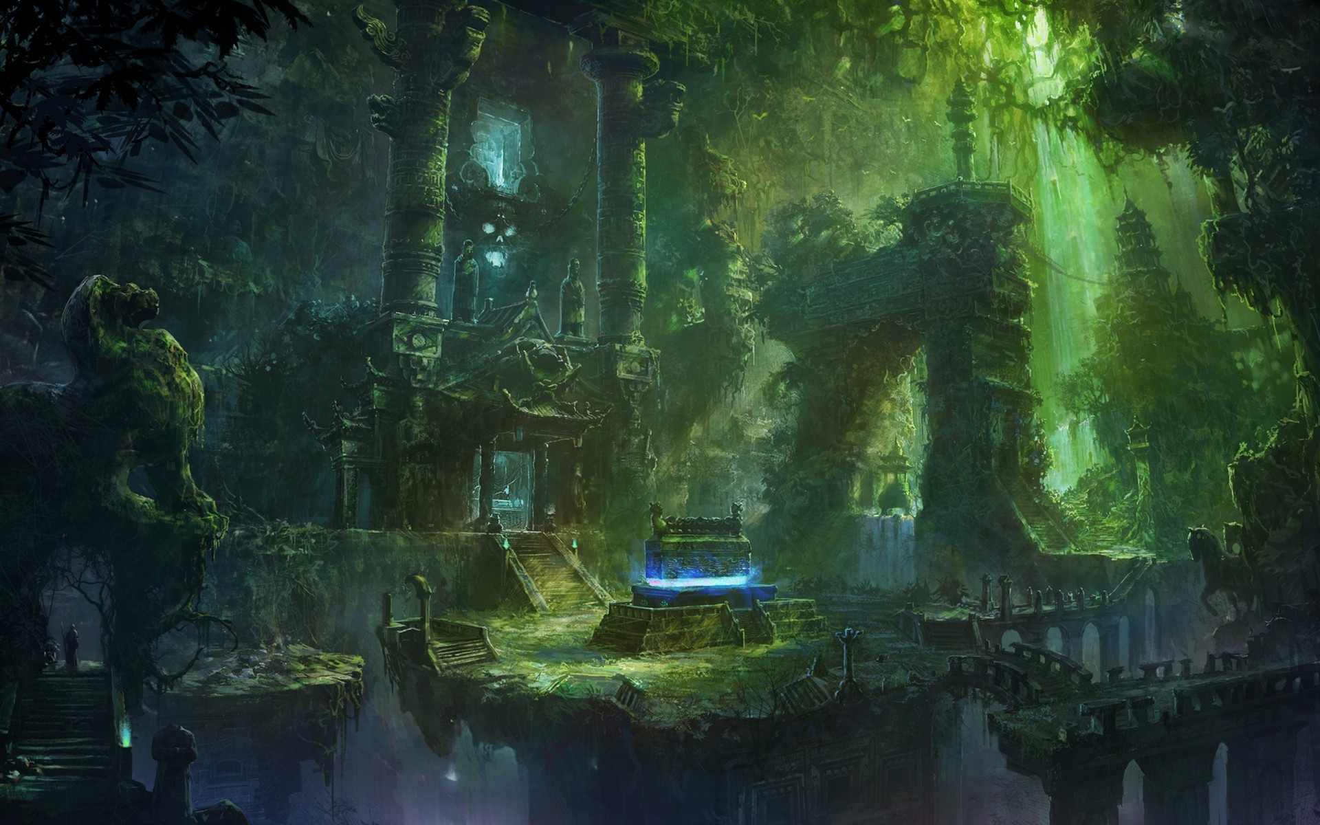 Fantasy forest ruins buildings jungles wallpaper ...