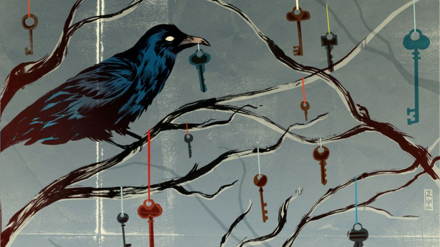 art dark psychedelic crow Bird Keys Abstract Branches Drawing wallpaper
