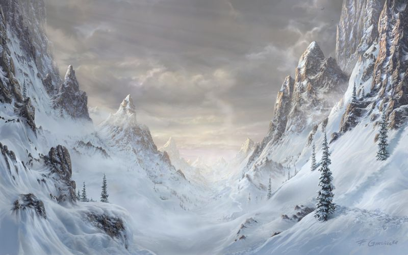 art paintings mountains forest art rocks nature trees snow spruce winter landscape wallpaper