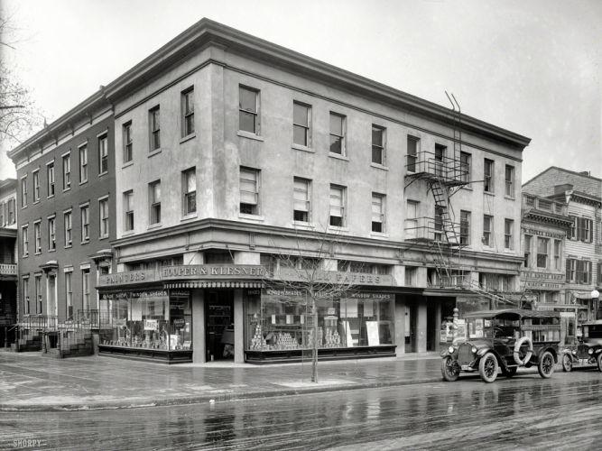 black white buildings retro classic cars wallpaper