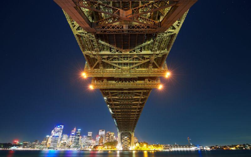 Bridge Sydney Ocean Night Lights Buildings Skyscrapers cities roads wallpaper