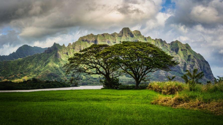 mountains trees oahu hawaii landscape clouds wallpaper