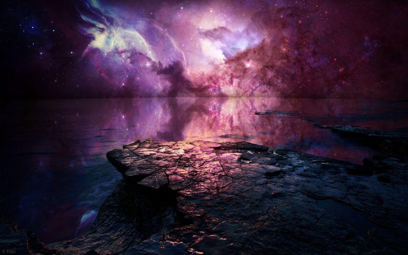 Nebula Stars Rock Stone ocean reflection sky beaches wallpaper
