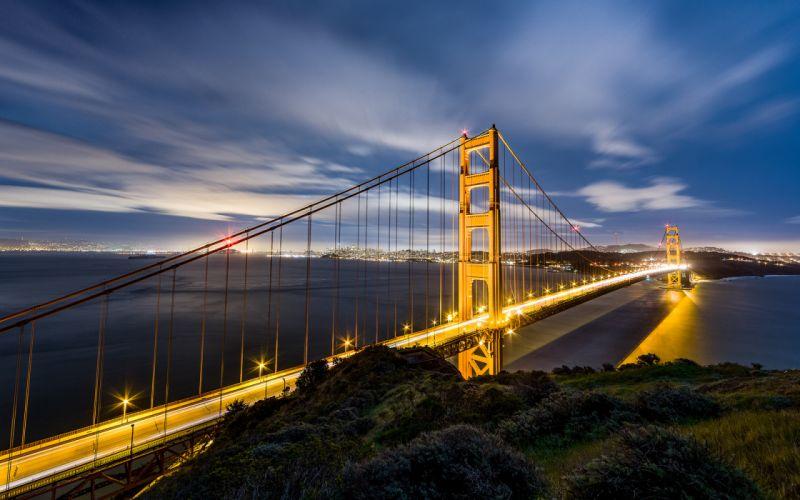Golden Gate Bridge San Francisco Light Ocean sky cities wallpaper