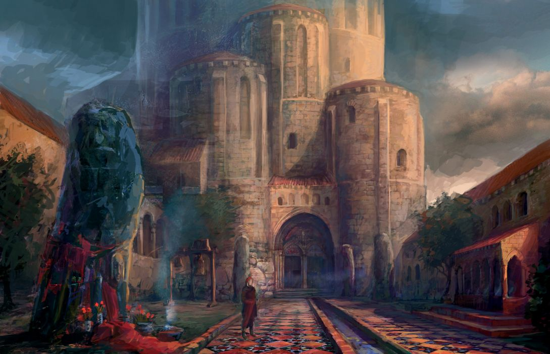 The Witcher Castle Drawing fantasy wallpaper